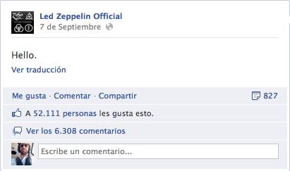Engagement en Redes Sociales de Led Zepellin