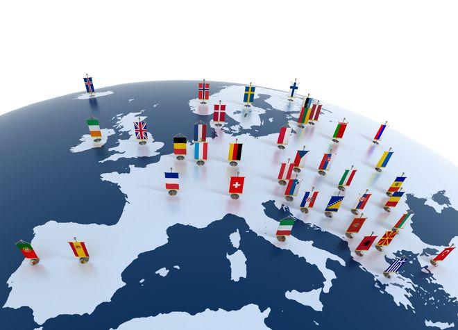 imagen conceptual en 3D con banderas de países