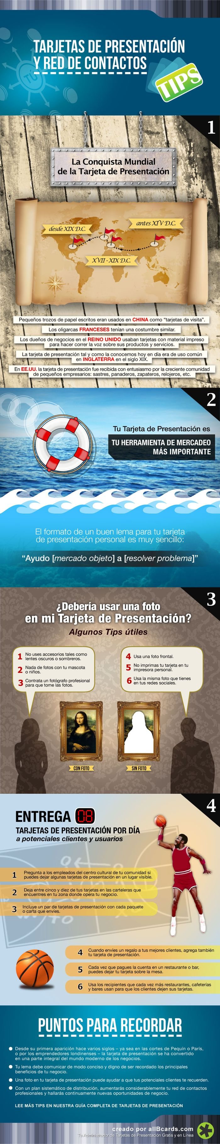 Infografía Tarjetas de Presentación y Red de Contactos Tips allBcards 1