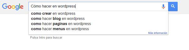 Utiliza las sugerencias de google